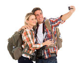 Tourists taking selfie — Stok fotoğraf