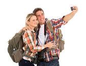 Tourists taking selfie — Stock Photo