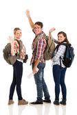 Group of young tourists waving goodbye — Stock Photo