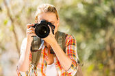 Woman taking photos in forest — Stock Photo