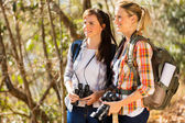 Friends hiking in autumn mountain — Stock Photo