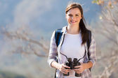 Young woman on top of the mountain — Stock Photo