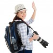 Young tourist waving good bye — Stock Photo #49822661