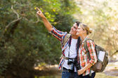 Young couple hikers in mountain — Stock Photo