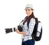 Woman holding dslr camera — Stock Photo