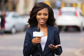 African female news reporter in live broadcasting  — Stockfoto