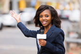 African news reporter in live broadcasting on street — Stock Photo