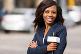 African news reporter portrait — Stock Photo