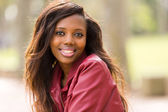 African woman in leather jacket  — Stock Photo
