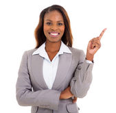 African businesswoman pointing empty space — Stock Photo