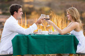 Beautiful young couple having romantic dinner — Stock Photo