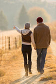 Couple walking in country road — Stockfoto