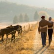 Young couple walking in farm road — Stock Photo #50620021