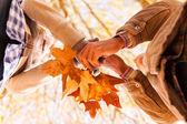 秋の葉を保持しているカップル — ストック写真