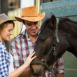 Cowboy and cowgirl comforting a horse in stable — Stockfoto #50636275