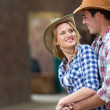 Young farm couple embracing — Stock Photo #50639097