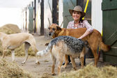 Female horse stables owner and dogs — Stock Photo