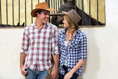 American western couple holding hands — Stock Photo