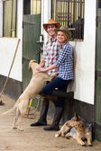 Young horse farming couple in stables — ストック写真