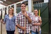 Group of stable workers — Stock Photo