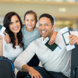Family holding boarding pass — Stock Photo #51621771
