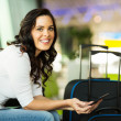 Female traveller using computer — Stock Photo #51628643