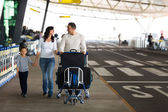 Cute family travelling — Stock Photo