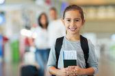 Girl holding passport — Stock Photo