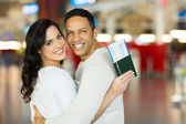 Couple at airport — Stock Photo