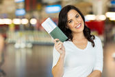 Young woman holding passport — Stock Photo