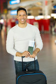 Man with boarding pass — Stock Photo