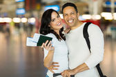 Couple with flight tickets — Stock Photo