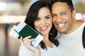 Husband and wife with tickets — Stock Photo