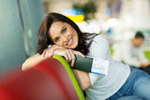 Female traveller at airport — Stock Photo
