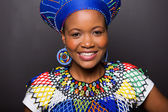 Zulu girl wearing traditional attire — Stock Photo