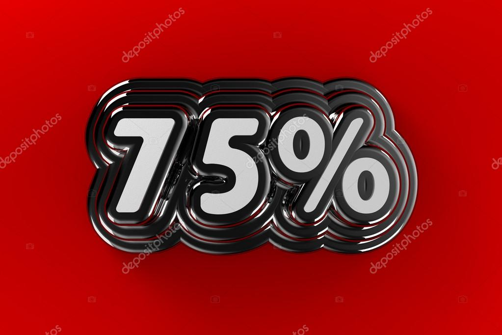Seventy five percent sign in chrome over gradient red background — Stock Photo #12623280