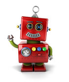 Waving vintage robot — Stock Photo