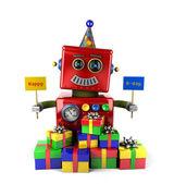お誕生日おめでとうございますロボット — ストック写真