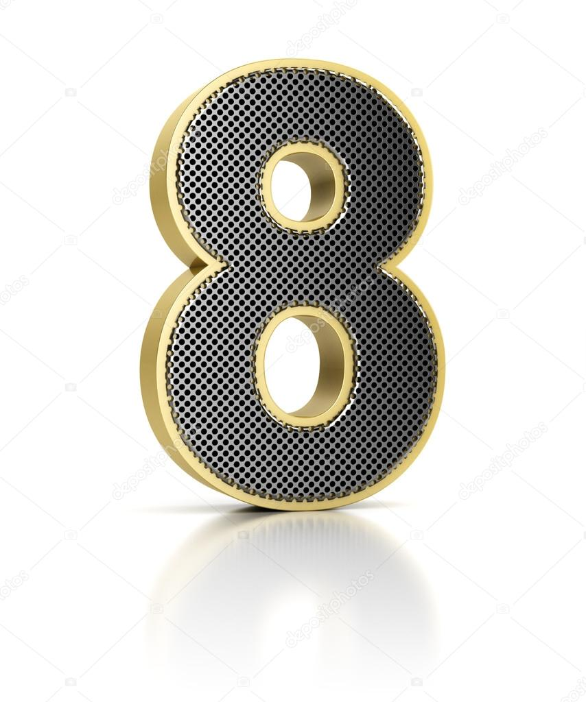 The number eight as a shiny metal object over white — Stock Photo #13618303