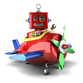 Toy robot in plane — Stock Photo