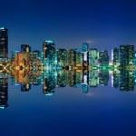 Miami Skyline at night — Stock Photo