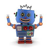 Ecstatic vintage toy robot — Stockfoto