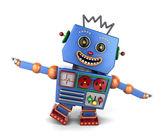 快乐的复古玩具机器人玩飞机 — 图库照片