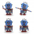 Blue toy vintage robot set — Stock Photo