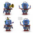 Blue toy vintage robot set 2 — Stock Photo