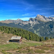 Alpine hut in the dolomites — Stock Photo