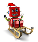Santa Claus robot on sled — Stock Photo