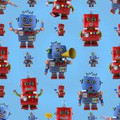Happy robots pattern — 图库照片