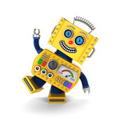 Yellow vintage toy robot goofing around — Stock Photo