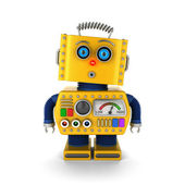 Vintage toy robot with surprised facial expression — Stock Photo